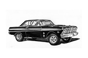 Drawing Framed Prints Prints - 1965 Ford Falcon Street Rod Print by Jack Pumphrey