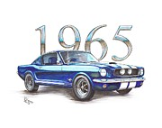 Chip Mixed Media Prints - 1965 Ford Mustang Fastback Print by Shannon Watts