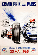 Automotiv Framed Prints - 1965 Grand Prix de Paris Framed Print by Nomad Art And  Design