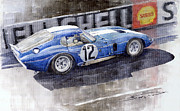 Blue Car Framed Prints - 1965 Le Mans  Daytona Cobra Coupe  Framed Print by Yuriy Shevchuk