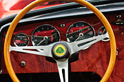 Wheel Posters - 1965 Lotus Elan S2 Steering Wheel Emblem Poster by Jill Reger