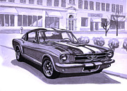 Ford Mustang Painting Framed Prints - 1965 Mustang Fastback Framed Print by Neil Garrison
