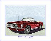 Mustang Drawings Posters - 1965 Mustang GTA Convertible Poster by Jack Pumphrey