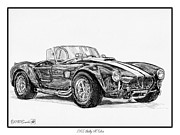 Closeups Drawings Posters - 1965 Shelby AC Cobra Poster by J McCombie