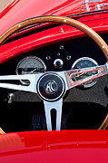 Steering Posters - 1965 Shelby AC Cobra Roadster 289 Steering Wheel Emblem Poster by Jill Reger