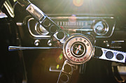 Steering Wheel Framed Prints - 1965 Shelby prototype Ford Mustang Steering Wheel Emblem Framed Print by Jill Reger