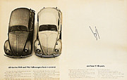 1965 Vw Beetle Advert Print by Nomad Art And  Design