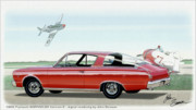 Duster Posters - 1966 BARRACUDA  classic Plymouth muscle car sketch rendering Poster by John Samsen