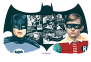 Tv Mixed Media Posters - 1966 Batman and Robin Poster by Ken Branch