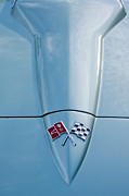 Sports Cars Posters - 1966 Chevrolet Corvette Coupe Hood Emblem Poster by Jill Reger