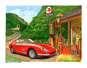 Jack Drawings Posters - 1966 Ferrari 275 G B T getting gas Poster by Jack Pumphrey