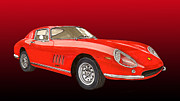 Sports Cars Paintings - 1966 Ferrari 275 G T S Alloy by Jack Pumphrey