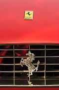 Classic Cars Photos Framed Prints - 1966 Ferrari 330 GTC Coupe Hood Ornament Framed Print by Jill Reger