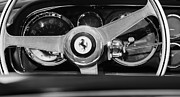 Car Photographs Framed Prints - 1966 Ferrari 330 GTC Steering Wheel Emblem  Framed Print by Jill Reger