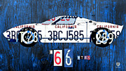 Sports Art Mixed Media Framed Prints - 1966 Ford GT40 License Plate Art by Design Turnpike Framed Print by Design Turnpike