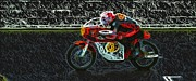 Motorbike Racing Posters - 1966 Honda CR 450 Motorcycle Poster by John Colley