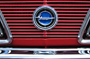 Muscle Photo Metal Prints - 1966 Plymouth Barracuda - Cuda Grille Emblem Metal Print by Jill Reger