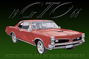 Pen And Ink Framed Prints Digital Art Posters - 1966 Pontiac GTO Poster by Jack Pumphrey