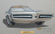 Muscle Car Mixed Media Framed Prints - 1967 BARRACUDA  Plymouth vintage styling design concept rendering sketch Fred Schimmel Framed Print by ArtFindsUSA