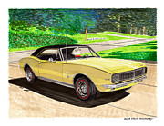 Wheel Framed Prints Posters - 1967 Camaro RS art Poster by Jack Pumphrey