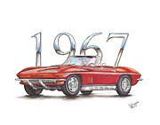 Corvette Drawings - 1967 Chevrolet Corvette Sting Ray 427 Convertible by Shannon Watts