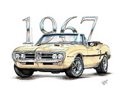 67 Prints - 1967 Firebird HO Convertible Print by Shannon Watts