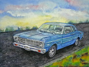 Asphalt Paintings - 1967 Ford Falcon Futura by Anna Ruzsan