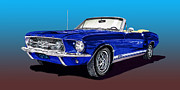 Ford Mustang Paintings - 1967 Ford Mustang G T A by Jack Pumphrey