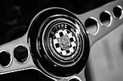 E Black Photo Prints - 1967 Jaguar E-Type Series I 4.2 Roadster Steering Wheel Emblem Print by Jill Reger