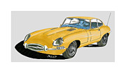 Acrylic Prints Drawings - 1967 Jaguar X K E Coupe by Jack Pumphrey