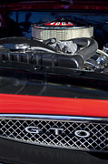 Muscle Car Photos - 1967 Pontiac GTO Engine Emblem by Jill Reger