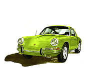 Watercolor Sports Art Paintings - 1967 Porsche 911 sportscar by Jack Pumphrey