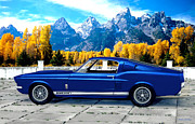 Ford Mustang Mixed Media Framed Prints - 1967  Shelby Mustang Cobra GT 500 Framed Print by Walter Colvin