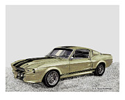 Wheel Framed Prints Posters - 1967 Shelby Mustang Eleanor Go Baby Go Poster by Jack Pumphrey