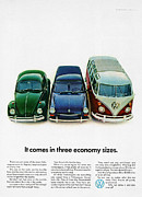 The Economy Digital Art - 1967 Volkswagen Beetle Squareback and The Box by Digital Repro Depot