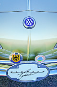 Photographs Framed Prints - 1967 Volkswagen VW Karmann Ghia Hood Emblem Framed Print by Jill Reger