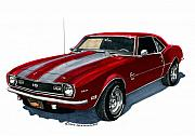 Note Cards Drawings Prints - 1968 Camaro S S 350 Print by Jack Pumphrey