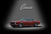 Red Camaro Posters - 1968 Camaro Ss Poster by Ken Smith