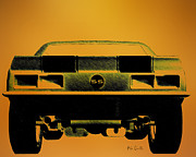 Muscle Drawings Metal Prints - 1968 Camero SS  Full Rear Metal Print by Bob Orsillo