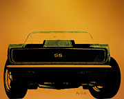 Car Drawings Posters - 1968 Camero SS Head On Poster by Bob Orsillo