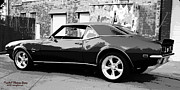 1968 Camaro Photos - 1968 Chevy Camaro Black and White by Randall Thomas Stone