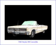 Note Cards Drawings Prints - 1968 Chrysler 300 Convertible Print by Jack Pumphrey