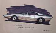 Chrysler Styling Framed Prints - 1968 E-BODY BARRACUDA   Plymouth vintage styling design concept rendering sketch Framed Print by John Samsen