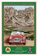 Rally Painting Posters - 1968 MGB Organ Mountain Racing Poster by Jack Pumphrey
