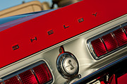 Taillights Framed Prints - 1968 Shelby GT500 KR Fastback Rear Emblem - Taillights Framed Print by Jill Reger