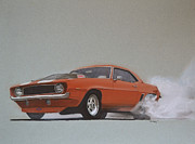Car Drawings Prints - 1969 Camaro Prostreet Print by Paul Kuras