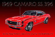 Pen And Ink Framed Prints Digital Art Posters - 1969 Camaro SS 396 Poster by Jack Pumphrey