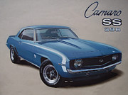 Chevy Drawings - 1969 Camaro SS by Paul Kuras
