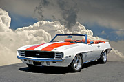 Rally Prints - 1969 Camaro SS350 Convertible Print by Dave Koontz