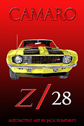 80s Digital Art Framed Prints - 1969 Camaro Z 28  Framed Print by Jack Pumphrey